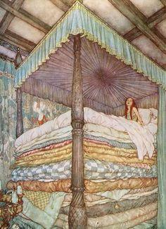 The Princess and the Pea by Edmund Dulac : Custom Wall Decals, Wall Decal Art, and Wall Decal Murals | WallMonkeys.com