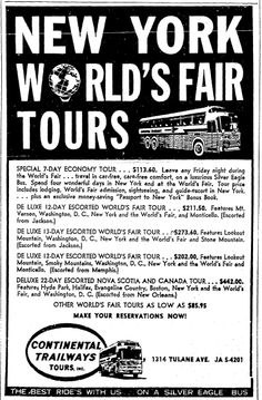 "A newspaper ad for bus tours to the 1964 World's Fair in New York, published in theTimes-Picayune (New Orleans, Louisiana), 24 May 1964. Read more on the GenealogyBank blog: ""1964 World's Fair: History, Photos & Memorabilia."" http://blog.genealogybank.com/1964-worlds-fair-history-photos-memorabilia.html"