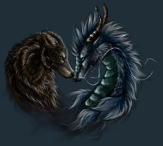 Two beautiful creatures coming together looking eye too eye Celtic Tattoos, Wolf Tattoos, Star Tattoos, Animal Tattoos, Sleeve Tattoos, Wolf Tattoo Design, Mythological Creatures, Mythical Creatures, Dragon Tattoo Drawing