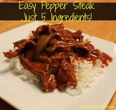 Easy Pepper Steak Recipe - Just 5 Ingredients! From RobynsOnlineWorld.com
