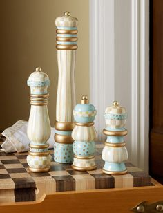 Hand-painted Parchment Check Salt & Pepper Mills are like pieces of art on your table.