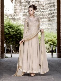 Beige Net Anarkali Suit with Embroidey Work