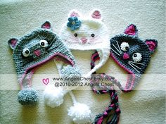 Crochet Kitty Earflap Beanie Hat - Pattern $7.99