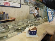 Grom gelato in Florence - not as good as Gelateria Carraia..(just down the street from Santa Croce) whose dark chocolate tastes like fudge!!