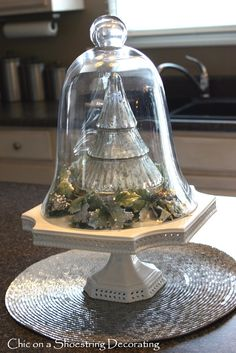 Tree under Cloche  ---  (might have to do this with my Polish Pottery Trees)