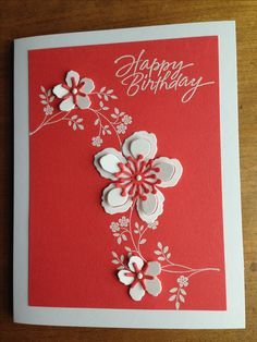 Botanical Builder Framelits- Stampin' Up! Homemade Birthday Cards, Happy Birthday Cards, Birthday Greetings, Homemade Cards, Stampin Up Anleitung, Flower Cards, Butterfly Cards, Stamping Up Cards, Cute Cards