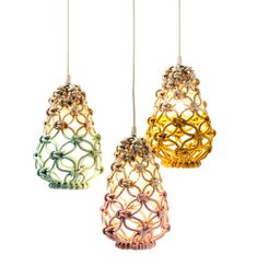 Mini Knotted Egg Lights by Melbourne's macrame queen, Sarah Parkes of Smalltown. Photo - Ben Glezer on thedesignfiles.net