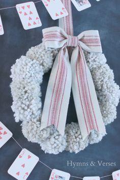 Anthropologie Inspired Wool Tufted Wreath - Pom Pom Wreath