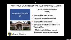 Business Model III of Residential Assisted Living Ownership Video 3 of 4 Assisted Living Facility, Training Classes, Caregiver, Business Opportunities, Opportunity, Things To Come, Key, Model, Unique Key