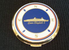 Cunard Liner QE2 1969 Vintage Stratton Compass Rose Ladies Powder Compact