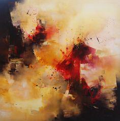 """""""Pájaros de fuego"""" - Nicolas Federici - Técnica mixta - 90 x 90 cm www. esencialismo.com"""