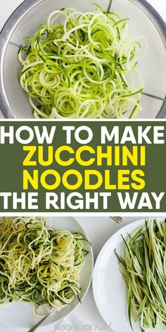 zucchini recipes Want to learn how to cook low carb ZUCCHINI NOODLES perfectly every time Get the best tips on how to make zoodles with or without a spiralizer, freezing noodles and easy, healthy recipes under 30 minutes. Zucchini Zoodles, Cook Zucchini Noodles, How To Cook Zucchini, Zucchini Noodle Recipes, Vegetable Recipes, Spaghetti With Zucchini Noodles, Zucchini Spirals Recipes, Zuchinni Pasta, Squash Noodles
