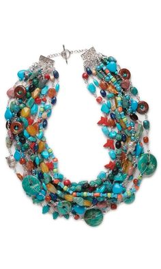 Multi-Strand Necklace with Turquoise and Assorted Gemstone Beads - Fire Mountain Gems and Beads; interesting connections & wirework