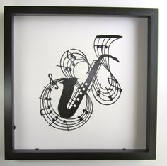Saxophone and Music Notes for MUSIC LOVERS Wall and Home Décor Silhouette Paper Cutout Handmade Framed One Of A Kind