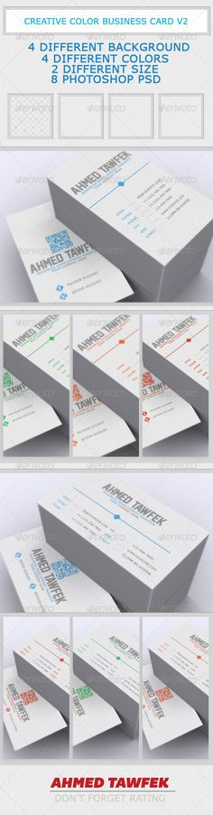 Creative Color Business Card V2  #GraphicRiver        Creative Photographer Business Card Creative Photographer Business Card – 12 in 4 different Color templates , 4 different Backgraund , 2 different Size and 8 PhotoShop Psd. and All text layers are full type and can be edited very easily. 300dpi, Colors can be changed easily with the blending options in Photoshop  Features :    fonts used : Inside in the Folder  Fully Layered PSD files  Fully Customizable and Editable  CMYK Setting  300…