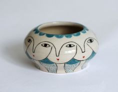 Cabello Azul Little ceramic vase Ceramic one of a by KinskaShop