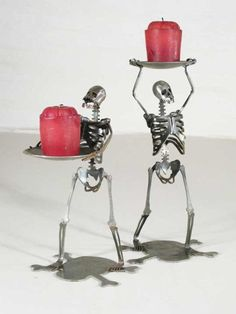 Zombie Skeleton Standing Holding Candle Holder by zedszombieranch, Fröhliches Halloween, Totenkopf Tattoos, Skull Decor, Gothic House, Candle Holder Set, Deco Table, Home And Deco, Skull And Bones, My New Room