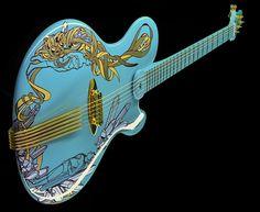 "Casual. Guitarra Jens Ritter modelo Princess Isabella, pintada por la artista Shudarella y titulada ""The Angry Kids""."