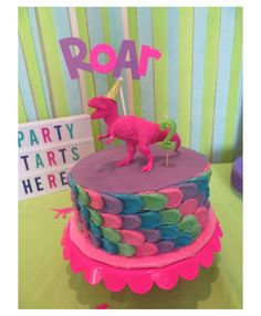 No photo description available. Dinasour Birthday Cake, Dinosaur First Birthday, 1st Birthday Party For Girls, Dinosaur Party, Elmo Party, Elmo Birthday, Mickey Party, Birthday Ideas, Pink