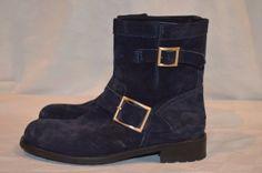 New $950 Misses Sz 37.5-7 Jimmy Choo Navy Blue Suede Youth Short Biker Boots #JimmyChoo #BikerBoots #Casual