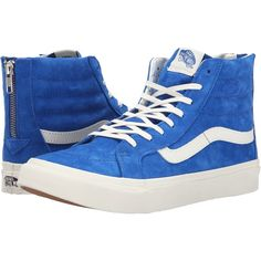 Vans SK8-Hi Slim Zip Black/Gold) Skate Shoes, Blue ($65) ❤ liked on Polyvore featuring shoes, sneakers, blue, vans high tops, blue sneakers, high top sneakers, vans sneakers and gold sneakers