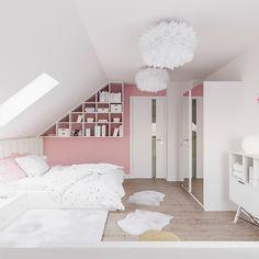 Pokój dla początkującej nastolatki - romantycznej dziewczynki zakochanej w ptakach i kwiatach. W pokoju zaprojektowane zostały meble do wykonania przez stolarza (biała szafa, trójkątny regał i łóżko z bocznymi siedziskami). Białe biurko, kontener i niski regał to meble gotowe.  Teenage Room, Aesthetic Rooms, My Room, Girls Bedroom, Room Inspiration, Toddler Bed, New Homes, House Design, Interior Design
