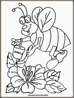 Free printable bee coloring pages for kids. Bee coloring pages for girls and for boys. Make a coloring book of free pictures and sheets. Ladybug Coloring Page, Bee Coloring Pages, School Coloring Pages, Animal Coloring Pages, Printable Coloring Pages, Free Coloring, Adult Coloring, Coloring Books, Flower Pictures