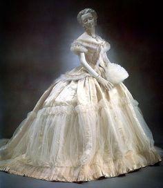 Charles Frederick Worth | Wedding Gown | c.1869 — #whattheywore #historicalfashion #fashion #fashiondesign #fashionhistory #historyoffashion #vintagefashion #art #vintage #historicfashion #defunctfashion #historicalfashion #costume #victorian...