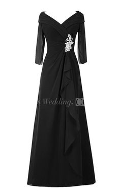 3/4 Sleeved A-line Chiffon Gown With Ruffles