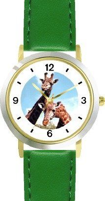 Giraffe Photo African Animal - WATCHBUDDY® DELUXE TWO-TONE THEME WATCH - Arabic Numbers - Green Leather Strap-Children's Size-Small ( Boy's Size & Girl's Size ) WatchBuddy. $49.95