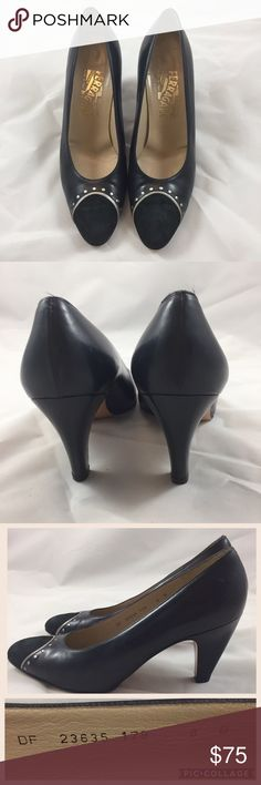 Salvatore Ferragamo Sz 8B Black Heels Beautiful dress shoes. Great pre-loved condition. Suede toes. No marks on the shoes, just wear on the sole. Offers welcomed 💘 Salvatore Ferragamo Shoes Heels