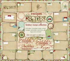 Shabby Princess Holiday Recipe Collection alot of free printable recipe cards