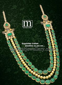 Jewellery Designs: Emerald Stones Pearls Long Chain