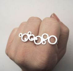 Organic Frosted Bubble Lace - Double Finger Ring Two Finger Ring - Modern - Sterling Silver 925. $75.00, via Etsy.