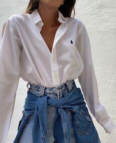 Cute Casual Outfits, Chic Outfits, Spring Outfits, Fashion Outfits, Fashion Mode, Look Fashion, Womens Fashion, Skandinavian Fashion, Camisa Ralph Lauren