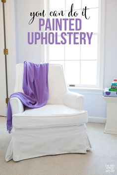 This is such an affordable way to update upholstery you don't like or is outdated. Before and after furniture makeover where fabric upholstery was painted. It looks amazing and feels and looks like a leather chair now. Paint recipe and tutorial | In My Own Style