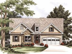 Cottage House Plan with 1633 Square Feet and 3 Bedrooms(s) from Dream Home Source | House Plan Code DHSW53543