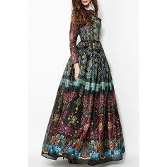 Colorful Vintage Print Maxi Voile Dress ($50) via Polyvore featuring dresses, white print dress, colorful dresses, vintage pattern dress, multi colored maxi dress and patterned maxi dress
