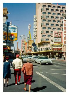Fremont St, Las Vegas, c. Ted Rio Fito at the Fremont Hotel Sky Room. The Diplomats at the Golden Nugget. Lucky Casino has just opened next to Diamond Jim's Nevada Club. Photos via Jaap van der Horst Las Vegas, Vintage Photography, Street Photography, Nevada, Googie, Aesthetic Vintage, Old Photos, Retro Vintage, The Past