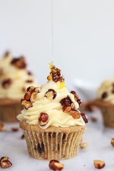 Honey Toasted Hazelnut Chocolate Chunk Cupcakes with Honey Buttercream Frosting