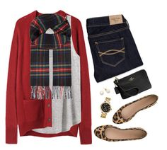 """""""Holiday style: red cardigan, tartan scarf & leopard flats"""" by steffiestaffie ❤ liked on Polyvore featuring La Garçonne Moderne, H&M, Abercrombie & Fitch, Michael Kors, Coach, J.Crew and Johnstons"""