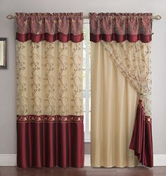 All-in-One Burgundy Window Curtain Drapery Panel: Double-Layer, Solid Color Back with Embroidered Sheer Top and Valance, Layered Curtains, Home Curtains, Curtains Living Room, Colorful Curtains, Fabric Shower Curtains, Drapery Panels, Burgundy Curtains, Curtain Styles, Curtain Decor