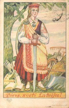 """Atklātne, Dievs, svētī Latviju!, Draule, 1931 gads, 20-30tie g. 20 gs. Latvian postcard """"God bless Latvia"""". Woman in folk dress with a sword."""
