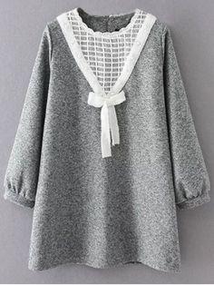 Knit Panel Trapeze Tweed Dress - GRAY XL