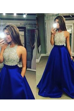 High Neck Royal Blue Long Prom Dresses,Bodice Beads Evening Prom Dress Ball Gown With Pocket Formal Women Dress,Graduation Dress