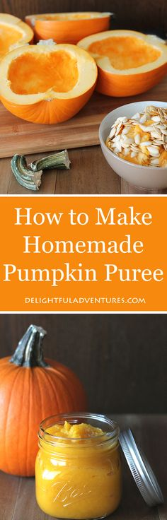 How to Make Homemade Pumpkin Puree (It's easy!) Get rid of the canned stuff and make your own homemade pumpkin puree! It's easy and your result will be fresh and ready for all of your favourite pumpkin recipes. Yummy Recipes, Fall Recipes, Baby Food Recipes, Holiday Recipes, Vegan Recipes, Yummy Food, Tasty, Desert Recipes, Homemade Pumpkin Puree