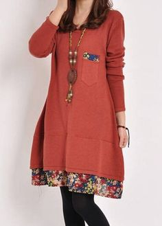 20.03$  Buy now - http://di8wi.justgood.pw/go.php?t=154740 - Floral Print Round Neck Red Dress