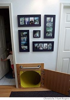 Secret Slide to lower levels of your home- how cool is that??