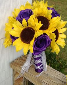 Silk Sunflower & Purple Rose Wedding Bouquet