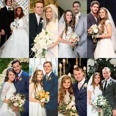 Wedding portraits of all the married couples. Wedding Pics, Wedding Couples, Married Couples, Wedding Ideas, Jessa Duggar Wedding Dress, Dugger Family, 19 Kids And Counting, Bates Family, Anna